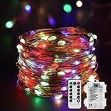 Cadena de Luces Guirnalda de Luces 10M 100 LED Impermeable de 8 Modos de Luz con Control Remoto para DIY Fiesta Jardín Boda etc