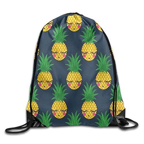 ZHIZIQIU 3D Print Drawstring Bags Bulk, Pineapple Cartoon Cute Drawstring Bag for Traveling Or Shopping Casual Daypacks School Bags Unisex Size: 4133cm