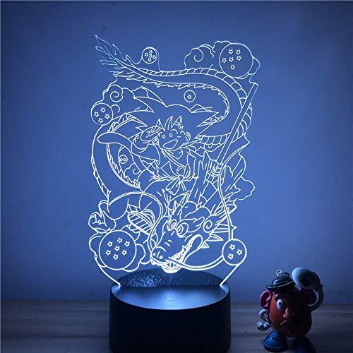 Sorpresa antes de Navidad Luz de noche LED 3D Anime Dragon Ball Goku Dragon Touch Table Modelo Lámpara de mesa Colección Regalo