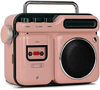HONGTAI Bluetooth Speaker Wireless Portable Outdoor Subwoofer Desktop Retro Mobile Phone Small Sound Creative Gift Peach Powder (Color : Pink)