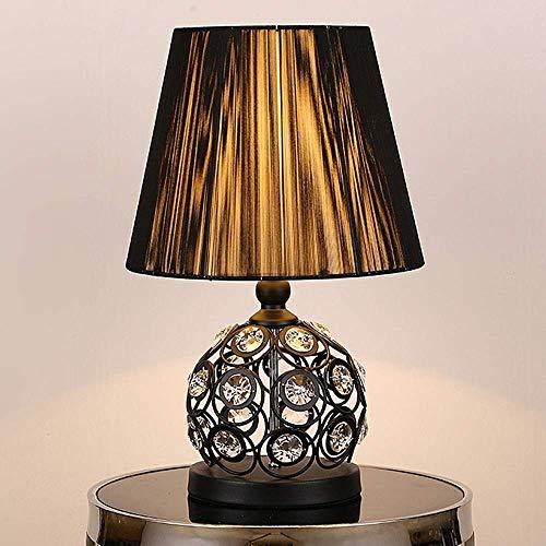 Retro Tafellamp Crystal En stoffen kap, Zwarte opengewerkte Smeedijzer, for Living Room Family Slaapkamer Nachtlampjes Office Decor van het Huis (Color : Black)