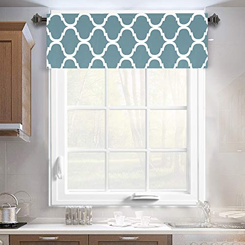 Melodieux Moroccan Fashion Room Darkening Rod Pocket Window Curtain Valance, 52 by 18 Inch, Dusty Blue (1 Panel)