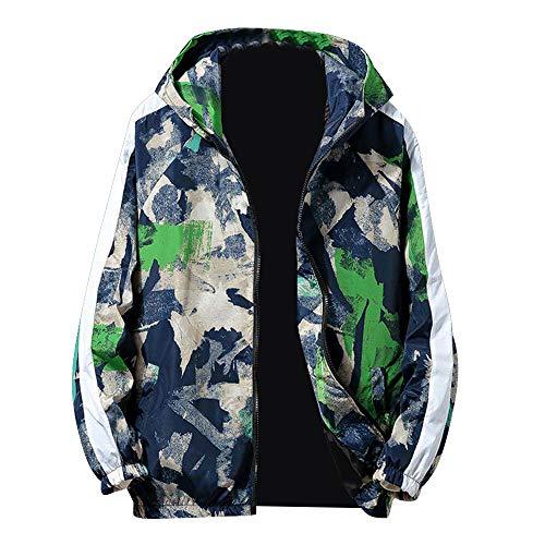 HOMEBABY Heren Camouflage Hooded Bomber Jas Hip-hop Rits Lange Mouw Slim Fit Sweatshirt Rits Jas Sportkleding Fitness Yoga Tops