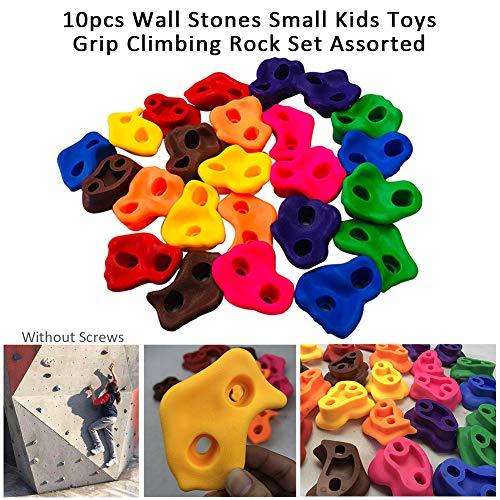 Lanmei Kletterfelsen-Set, 10-teiliges Kletter-Set für DIY-Steinmauer, Verschiedene farbige Kletterwandgriffe, Kinder-Kletterfelsen ohne Schrauben