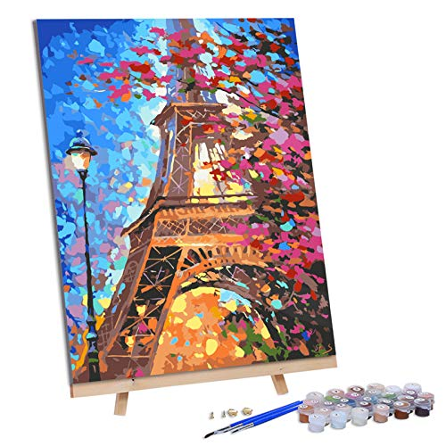 VIGEIYA DIY Paint by Numbers for Adults Include Framed Canvas and Wooden Easel with Brushes and Acrylic Pigment 16x20inch (Eiffel Tower)