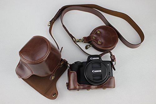 EOS M50 Camera Case, Zakao PU Fullbody Bottom Opening Versie Beschermende Lederen Camera Case Tas voor Canon EOS M50 15-45mm Lens met Schouderband en Mini Tas, Koffie