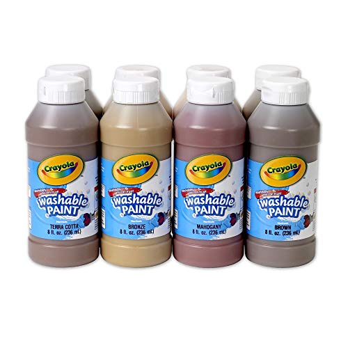 Crayola Multi-Ethnic Washable Tempera Paints, 8 Ounces, Assorted Skin Tone Colors, Set of 8