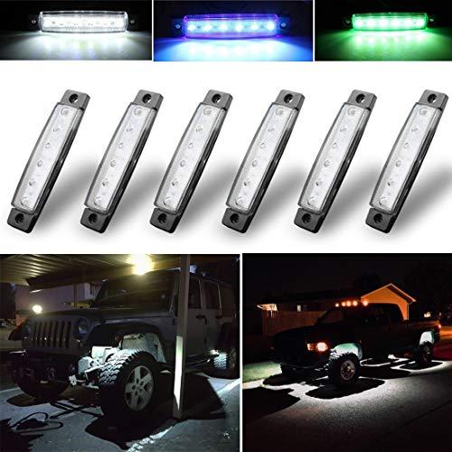 Botepon 6Pcs Led Rock Lights, Strip Lights, Wheel Well Lights, Led Underglow Kit for Golf Cart, Trucks, Jeep Wrangler, RZR, Offroad, F150, F250, Snowmobile (White)