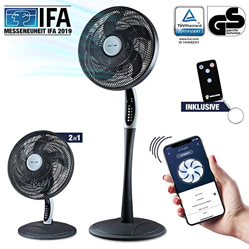 RelaxxNow Ventilador de Pedestal 2en1 Extra silencioso| Smart Tuya App + Amazon Alexa + Google Assistant | VTX300 También Ventilador de Sobremesa de 55W con Mando a Distancia | Aire Acondicionado
