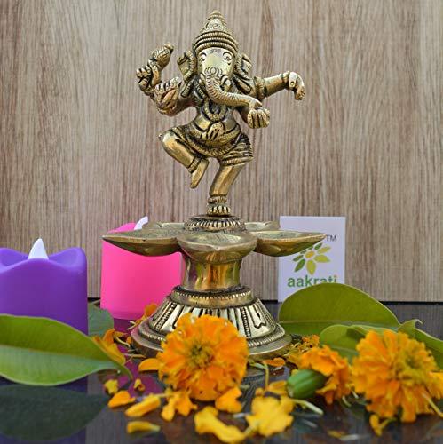 Aakrati Dancing Ganesha Brass Oil Lamp Decorative Metal Lamp Statue for Home Décor