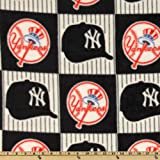 Fabric Traditions MLB Fleece New York Yankees Blocks Blue/Red/White Fabric By The Yard
