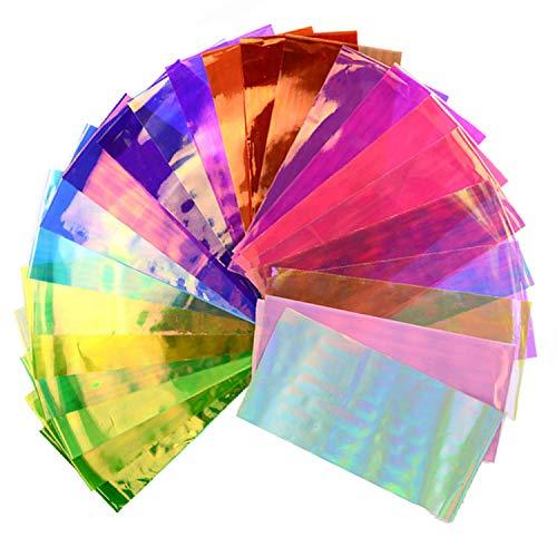 Beaute Galleria 24 Stück gemischte Farben Nagelkunst DIY holografisch zerbrochenes Glas reflektierend Spiegelsplittereffekt Regenbogen dünn schillernde Zellophanfolien