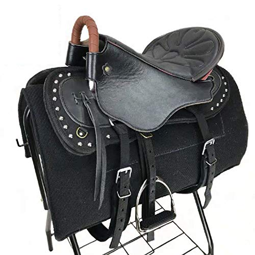 Caballo De Silla, Horse Saddle Leather, Caballo Grande para Turistas con Pomo De Caballo con Cuero Nuevo Tamaño De Silla De Montar Silla De Montar Corta