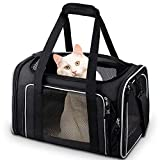 Comsmart Cat Carrier, Pet Carrier Airline Approved Pet Carrier Bag Collapsible 15 Lbs Dog Carrier for Small Medium Cats Dogs Puppies Kitten - Black