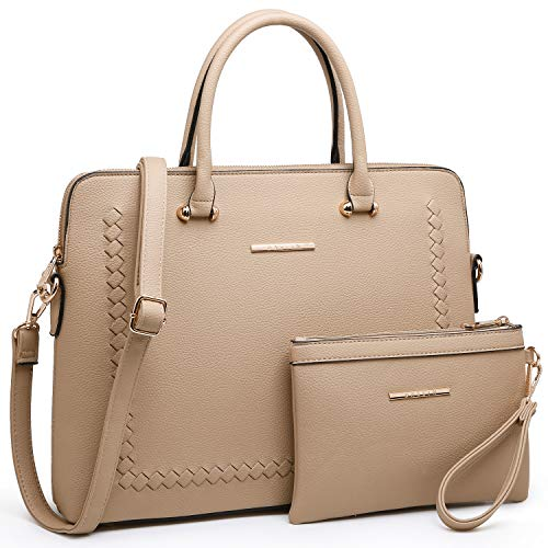 Dasein Women's Handbag Large Shoulder Bag Tote Satchel Purse Top Handle Bag (7166 wallet set beige)