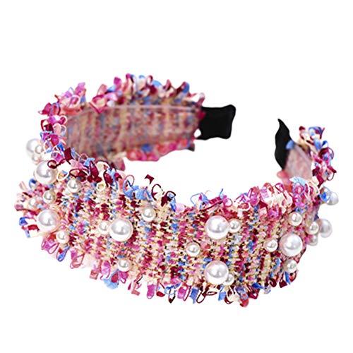 bdrsjdsb Style Coréen Femmes Tricoté Faux Perle Large Bande De Cheveux Cerceau Bandeau Chapeaux Cheveux Chouchous Bandes Rose rouge