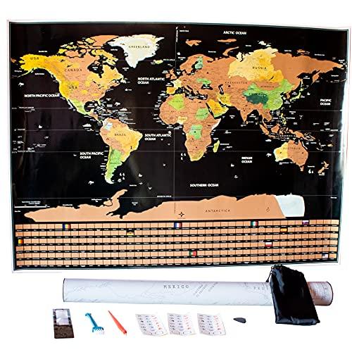 Mapa Mundo Rascar - Ideal para Viajeros. Atlas del Mundo. Decoracion de Pared Grande. Incluye Herramientas para Descubrir El Mapa Mundi Y Pegatinas Personalizadas.