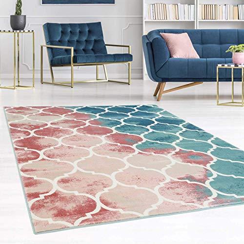 carpet city Teppich Flachflor Inspiration mit Geometrischen Muster, Marokkanischer Stil, Meliert, in Pastellfarben, Blau, Rosa, Creme, Beige für Wohnzimmer, Größe: 80x300 cm