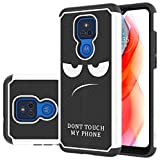 LEEGU for Moto G Play 2021 Case, Shock Absorption Dual Layer Heavy Duty Protective Silicone Plastic Cover Rugged Phone Case for Motorola G Play 2021 - Don't Touch My Phone