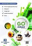 20 hojas de papel fotográfico + 1 hojas adicionales A3 260 gsm, papel brillante, blanco, resistente al agua, compatible con impresoras de inyección e impresoras fotográficas) GO Inkjet …