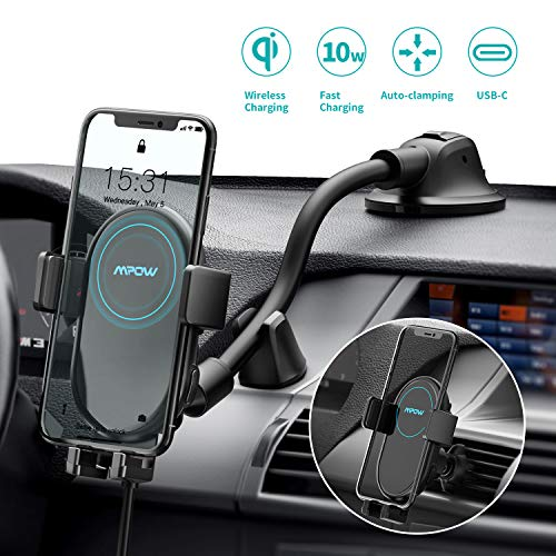 Mpow Wireless Car Charger, 2-in-1 Auto-Clamping Car Phone Mount 10W/7.5W Qi Fast Charging Phone Holder Air Vent and Dashboard Car Mount Compatible with iPhone 11/11 Pro/Xs Max/XS/XR/X, Galaxy Note