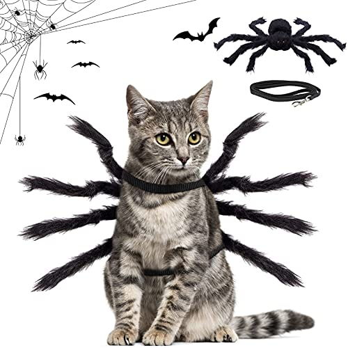 Disfraz De Halloween del Gatos Perros,Disfraz para Perro De Halloween,Mascota araña Ropa,Disfraz de Araña para Halloween,Disfraces Divertidos de Halloween para Mascotas (Negro)