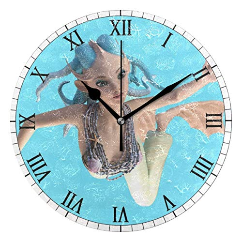 """Zseeda 25cm (9.8\"""") Redondo Reloj de Pared Silencioso No Tick Tack Ruido Reloj de Pared Tentáculo Sirena Aletas Piel De Pescado Mar Nadar"""