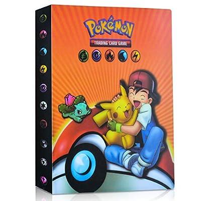 EKKONG Album Pokemon, Album Cromos Pokemon Cartas Álbum Álbum Titular de Tarjetas Pokémon GX EX Cartas Álbum 28 páginas - Puede Contener hasta 224 Tarjetas (Naranja Ash) por EKKONG