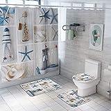 ETOPARS Ocean-Serie Bad Duschvorhang Teppich Set 4-teilige weiche & rutschfeste Badematte, U-förmiger Kontur Teppich, Toilettendeckelabdeckung 72 x 72 Zoll
