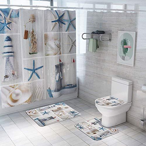 ETOPARS Ocean-Serie Bad Duschvorhang Teppich Set 4-teilige weiche und rutschfeste Badematte, U-förmiger Kontur Teppich, Toilettendeckelabdeckung 72 x 72 Zoll