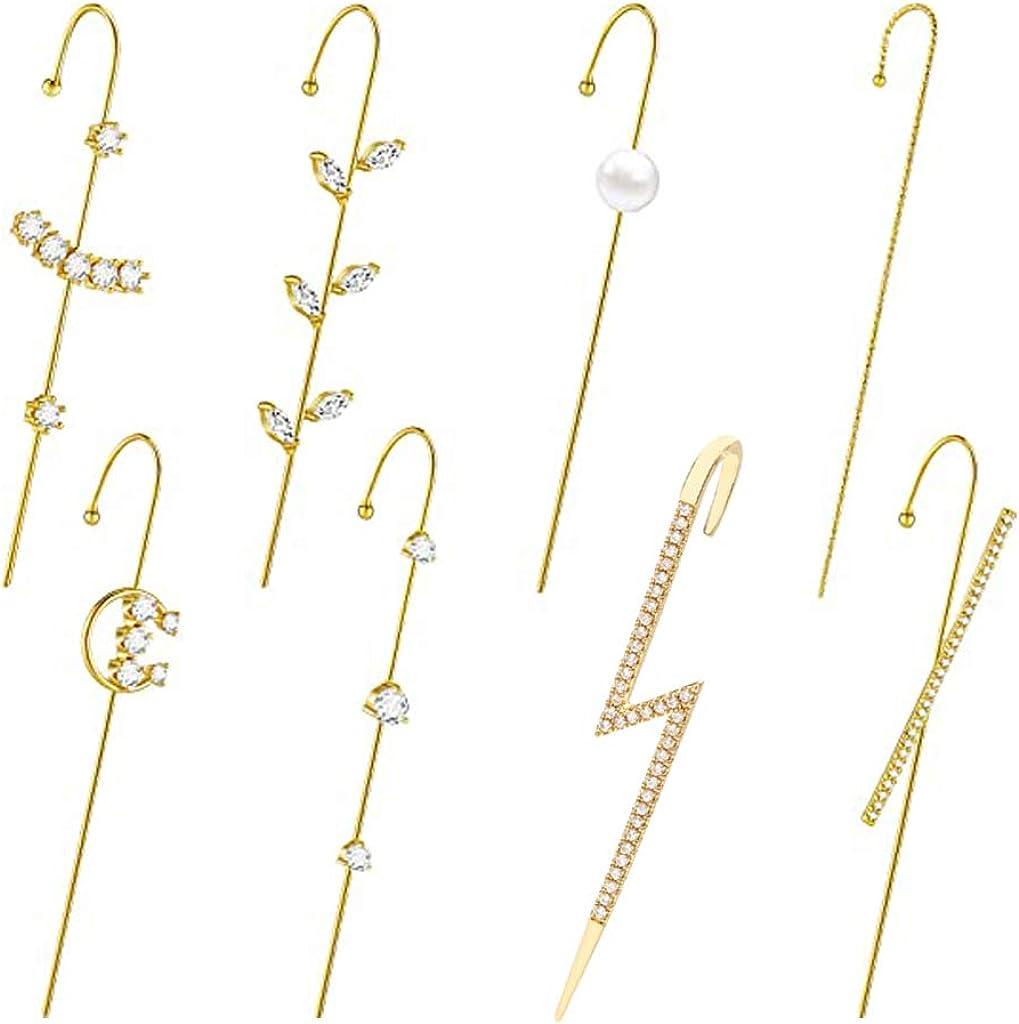 Xzbnwuviei 8Pcs Ear Wrap Earring Elegant Crystal Craved Gold-tone Crawler Hook Earrings Classic Rhinestone Piercing Ear Cuff Women