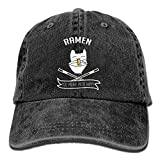 Hoswee Unisexo Gorras de béisbol/Sombrero, Ramen Make Cat Happy Denim Hat Adjustable Womens Cute Baseball Hats