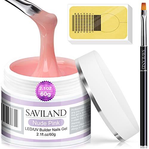 Saviland Set Gel Unghie Ricostruzione - Set Unghie Gel Ricostruzione 60 g, Colore Rosa Nudo Per Unghie, Per Rinforzare Il Gel Duro Per Pennelli Unghie Gel Acrilico e Forme Per Unghie Per Principianti