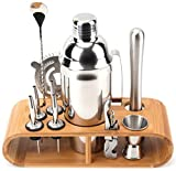 WUWEOT 12 Piece Bartender Kit with Stand, Stainless Steel Cocktail Shaker Set, 25 Oz Bar Set for Home, Bars, Parties and Traveling