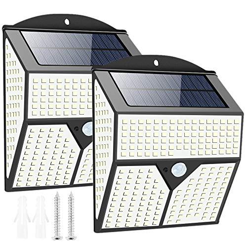 Luz Solar Exterior con Sensor de Movimiento 436 LED Súper Brillante 300 º Iluminación Foco Solar con Sensor de Movimiento Impermeable para Jardín/Camino/Exterior (2 PCS)