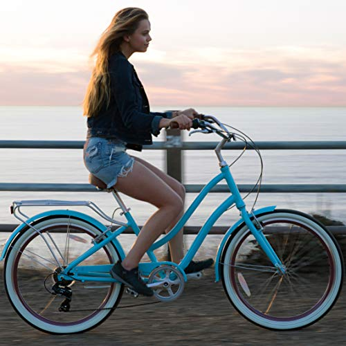 """sixthreezero EVRYjourney Women's 7-Speed Step-Through Hybrid Cruiser Bicycle, 26"""" Wheels and 17.5"""" Frame, Teal with Brown Seat and Grips, 630033"""