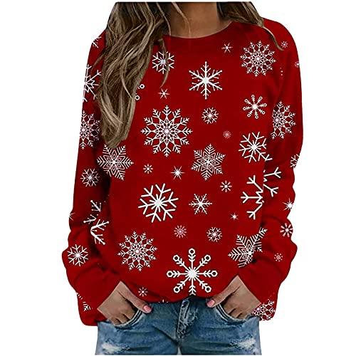 Christmas Cute Snowflake Print Tops for Women,Fall Long Sleeve Crewneck Sweatshirt,Vintage Casual Loose Fit Pullover