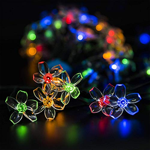 GIGALUMI 2 Pack Solar Strings Lights, Solar Fairy Lights 23 Feet 50 LED Flower...