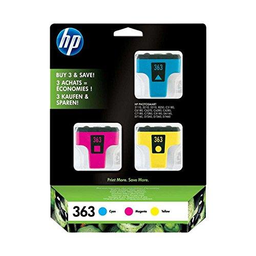 HP 363 (CB333EE) Cartucce Originali per Stampanti a Getto di Inchiostro HP Photosmart 3110, 3200, 3210, 3300, 3310, 8200, 8250, C5180, D6160, D6100, D7160, Confezione da 3, Ciano, Giallo, Magenta