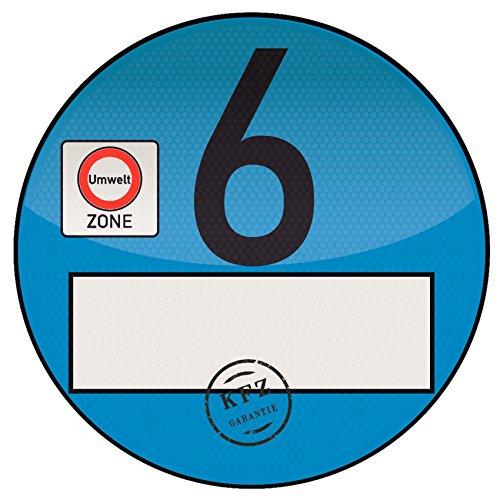 1x Haftfolie Euro 6 Plakette blau von Finest-Folia Feinstaub Umweltzone Aufkleber Spassplakette (R021)