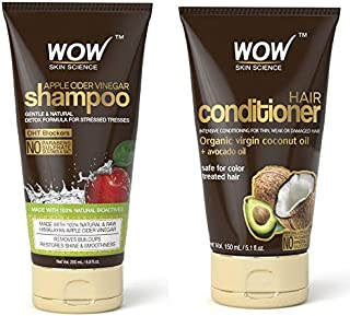 Wow Apple Cider Vinegar Shampoo 6.8 fl oz + Wow Hair Conditioner 5.1 fl oz Sulphate & Parabeen Free