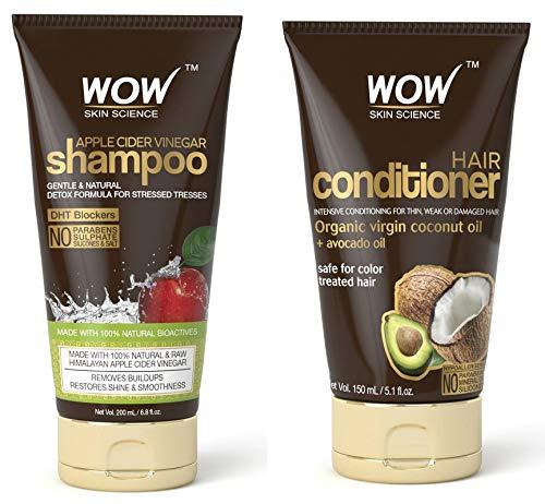 Wow Apple Cider Vinegar Shampoo 6.8 fl oz + Wow Hair Conditioner 5.1 fl oz Sulphate & Parabeen Free