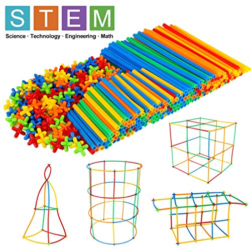 Winsenpro 408PCS Straw Constructor STEM Building Blocks Toys for Kids#039 EducationColorful Plastic Engineering Toys Gift for Boys Girls Party 408 Piece
