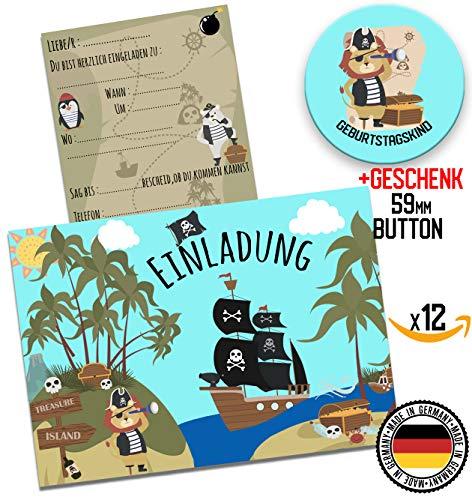 HWArt 12 Einladungskarten Piraten Einladung zur Party Einladungen zum Geburtstag Jungen Mädchen Schatzkarte Kindergeburtstag + 59mm Button Geschenk