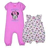 Disney Girl's 2-Piece Minnie Mouse Baby Romper Onesie Set, Pink/Grey, 9 Months