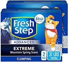 Fresh Step Advanced Extreme Clumping Cat Litter with Odor Control - Mountain Spring Scent, 18.5lb (Pack of 2)