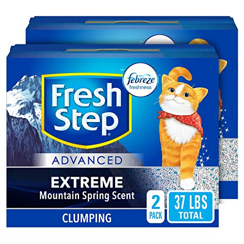 Fresh Step Advanced Extreme Clumping Cat Litter with Odor Control - Mountain Spring Scent, 37 lbs Total (2 Pack of 18.5 lb Boxes)