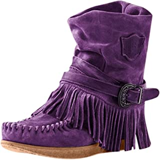 Womens Cowboy Bootie Round Toe Low Heel Faux Suede Western Fringe Mid-Calf Boot Shoes