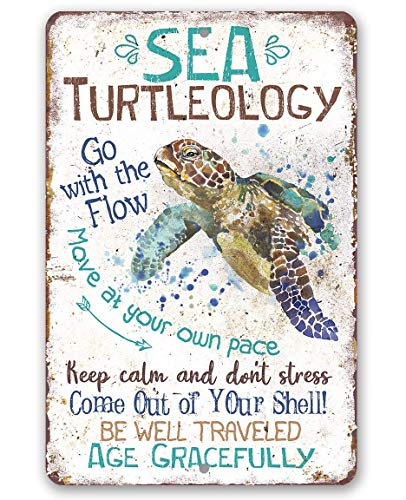 Metal Sign - Sea Turtleology - Durable Ocean Metal beach house Sign - Use Indoor/Outdoor - Makes Great Inspirational Decor and Housewarming Gift for Sea Turtle Fans Under $15 (8' x 12')