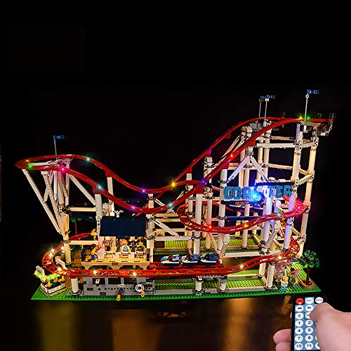 LODIY Luci Illuminazione Luce LED Light Kit per Lego 10261 Montagne Russe (Modello Lego Non Incluso) (con Telecomando)